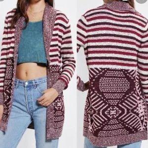 Ecote Pocket Striped Long Open Cardigan Size Large